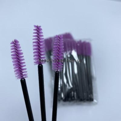 Щётки для бровей и ресниц, нейлон (50шт фиолетовые, черная ручка)
